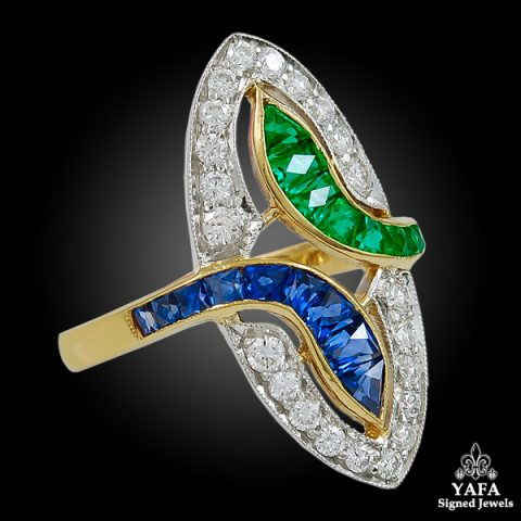 18k Yellow Gold Diamond, Emerald & Sapphire Ring