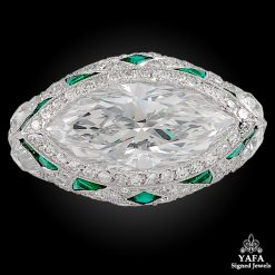 Platinum Marquise Diamond, Emerald Ring