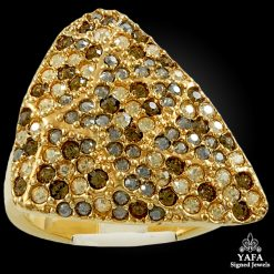 18k Gold White, Brown Diamond Ring