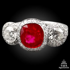 Platinum 3 Stones Diamond Ruby Ring