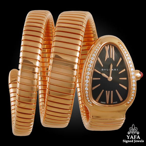 BULGARI 18k Gold Diamond Serpenti Tubogas Watch