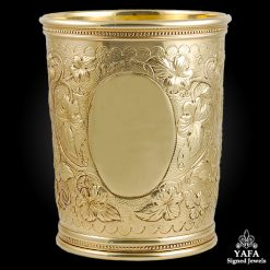 14k Yellow Gold Leaf Motif Cup