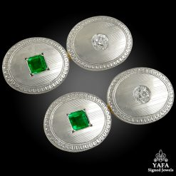 Diamond Emerald Two Tone Gold Cufflinks