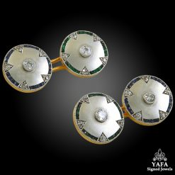 Diamond Emerald Gold Cufflinks