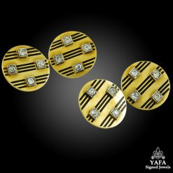Diamond Black Enamel Cufflinks