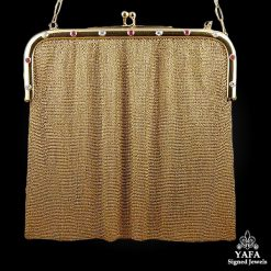 Diamond & Ruby Mesh Gold Bag