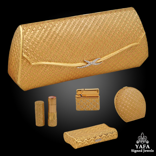 Fine Woven Gold Minaudiere Unique Complete Fittings