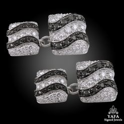 DE GRISOGONO White Gold Black & White Diamond Cufflinks