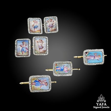 Diamond, Enamel Angel Cufflinks Set