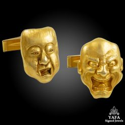 18k Gold Mask Face Cufflinks