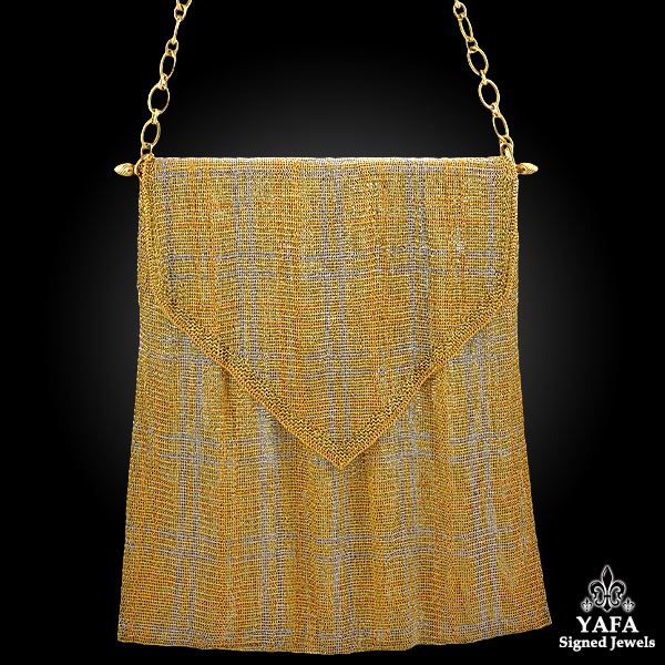 18k Two Tone Mesh Evening Bag
