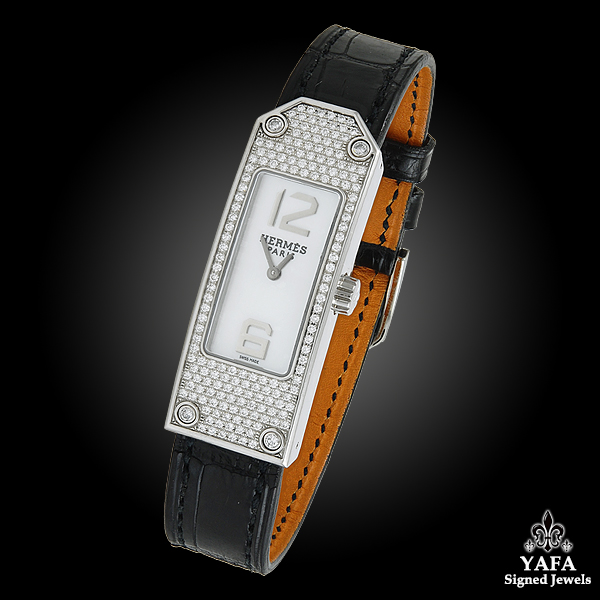 HERMES Diamond & Mother of Pearl Face Watch