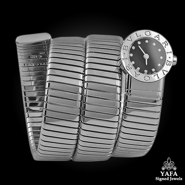 BULGARI Stainless Steel Diamond Tubogas Snake Watch