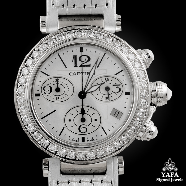 CARTIER Pasha 37mm Seatimer Diamond Chronograph Watch