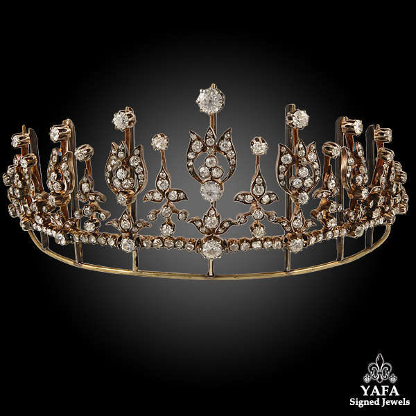 Antique Two Tone Diamond Tiara Necklace