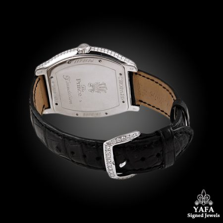 Chopard Diamond & Black Leather Strap Watch
