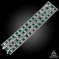 Platinum Diamond & Emerald Bracelet