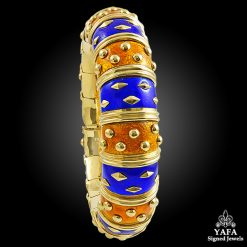 TIFFANY & Co. Blue & Orange Enamel Schlumberger Bangle
