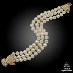 VAN CLEEF & ARPELS Diamond & 3 Row Pearl Bow Bracelet