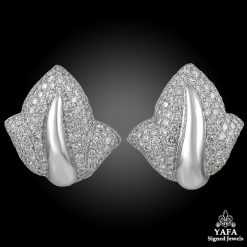 DE GRISOGONO Diamond Leaf Motif Earrings
