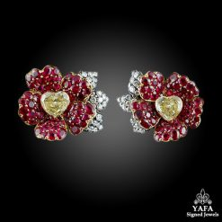 18k Gold Diamond & Ruby Flower Earrings