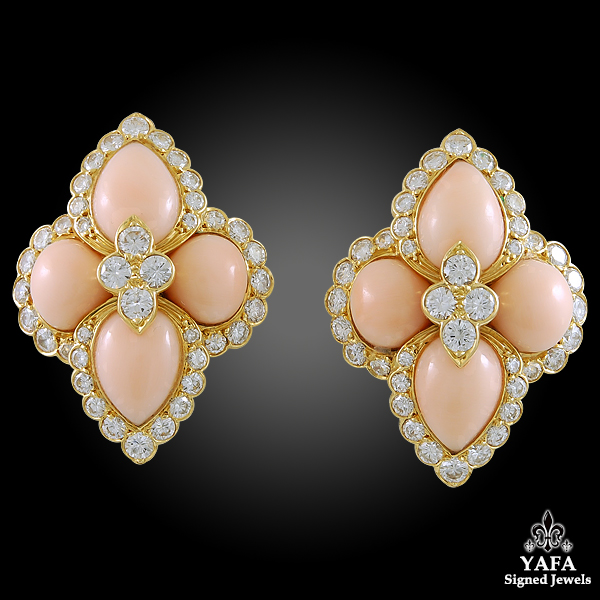 CARTIER Diamond & Coral Gold Earrings