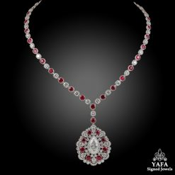 Platinum Diamond & Ruby Necklace - dia.15.58 cts.