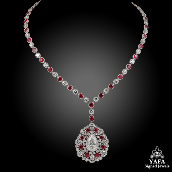 Contemporary Diamond Ruby Medallion Necklace