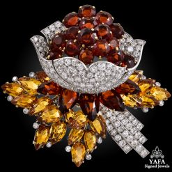 CARTIER Diamond & Citrine Flower Brooch