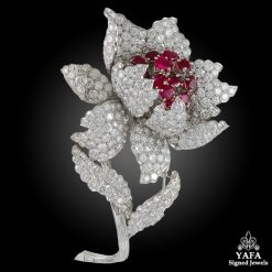 HARRY WINSTON Diamond & Ruby Flower Brooch