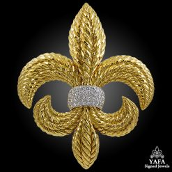 DAVID WEBB Diamond Fleur-de-Lys Brooch