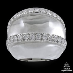 DAVID WEBB Rock Crystal Diamond Bombe Ring