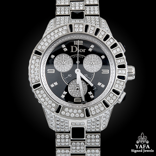 CHRISTIAN DIOR Diamond & Onyx Wrist Watch