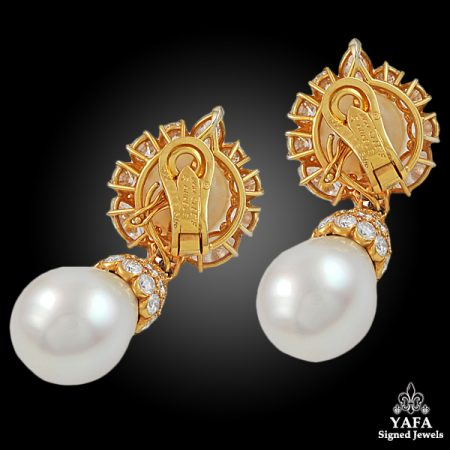 VAN CLEEF & ARPELS Diamond & Pearl Ear Pendants