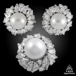 Platinum South Sea Pearl & Diamond Earrings Suite