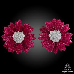 SABBADINI Ruby Diamond Invisible Set Flower Earrings