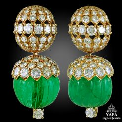 VAN CLEEF & ARPELS Diamond & Emerald Earrings