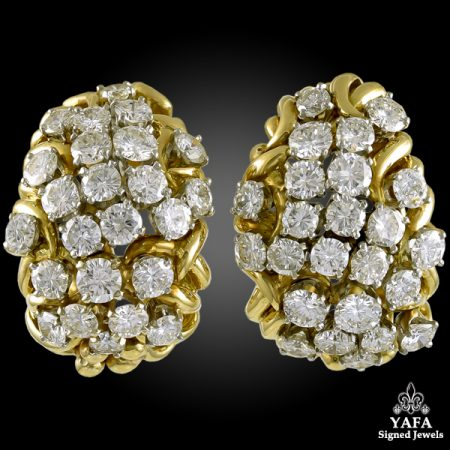 DAVID WEBB Diamond Bombe Ear Clips