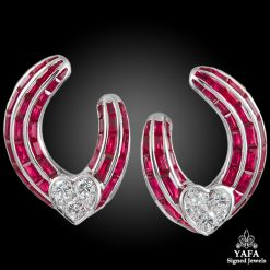 GRAFF Ruby Diamond Heart Hoop Earrings