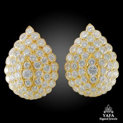 VAN CLEEF & ARPELS Diamond Pear-Shaped Motif Ear Clips
