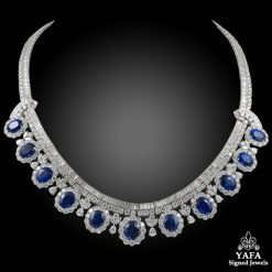 Platinum Diamond & Blue Sapphire Necklace - 47.30 cts.