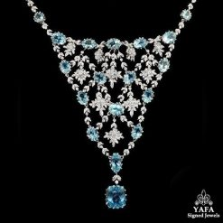 Platinum Aquamarine & Diamond Necklace