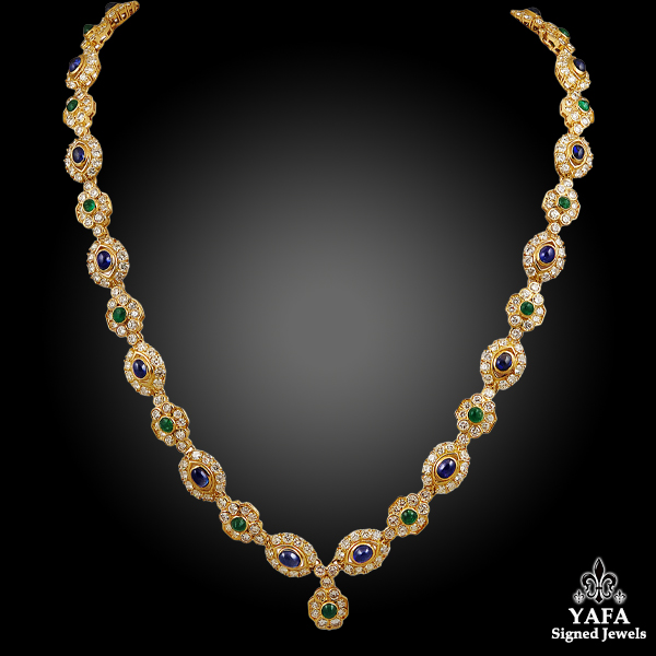 HARRY WINSTON Diamond & Cabochon Emerald,Sapphire Necklace/Bracelet