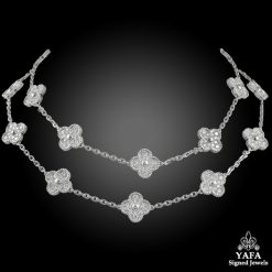 VAN CLEEF & ARPELS Diamond 20 Motif Alhambra Necklace
