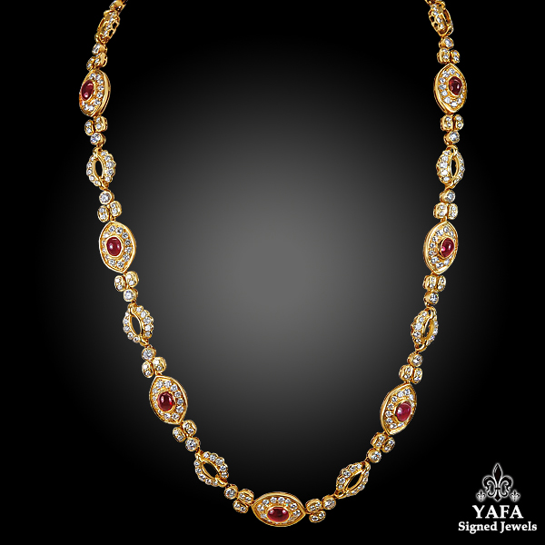 HARRY WINSTON Diamond, Cabochon Ruby Necklace