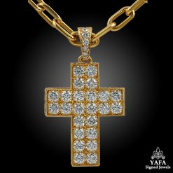 CARTIER Diamond Cross Gold Necklace