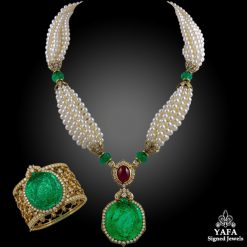 VAN CLEEF & ARPELS Carved Emerald, Diamond, Ruby & Pearl Necklace Suite