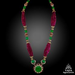 VAN CLEEF & ARPELS Carved Emerald, Ruby Beads, Diamond Necklace