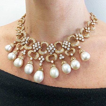 Rocaille-Style Pearl Diamond Fringe Necklace Earrings Suite