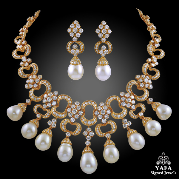 French Diamond, Pearl Necklace & Earrings